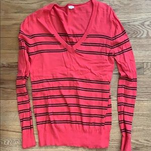 J. Crew Hot Pink and Blue Striped Sweater